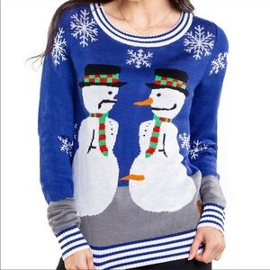 TIPSY ELVES Snowman Nose Thief  Funny Ugly Christmas Sweater